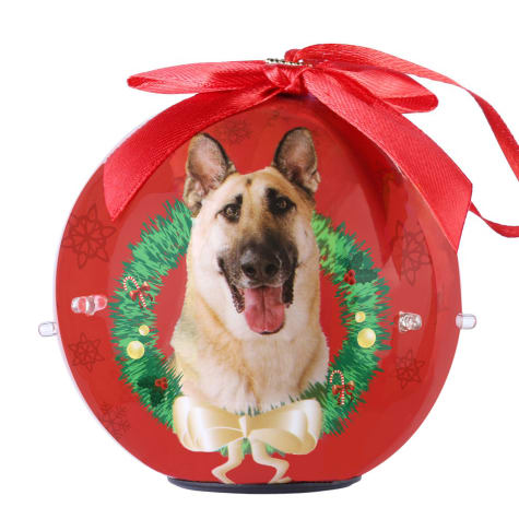 CueCuePet German Shepherd Dog Collection Twinkling Lights Christmas Ball Ornament