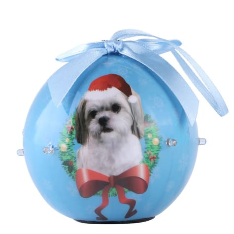 CueCuePet Shih Tzu Dog Collection Twinkling Lights Christmas Ball Ornament