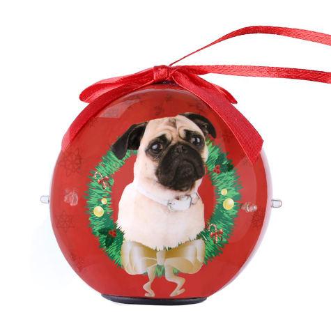CueCuePet Pug Dog Collection Twinkling Lights Christmas Ball Ornament