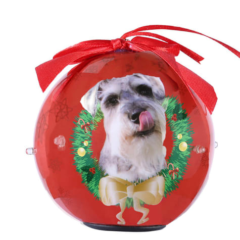 CueCuePet Schnauzer Dog Collection Twinkling Lights Christmas Ball Ornament