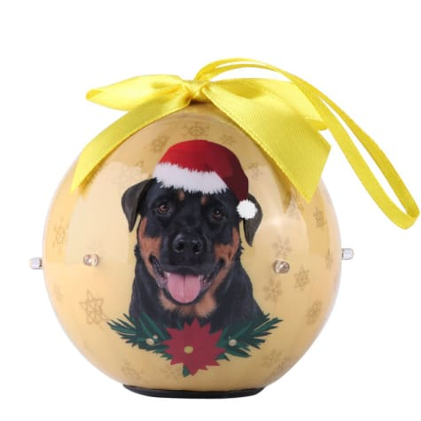 CueCuePet Rottweiler Dog Collection Twinkling Lights Christmas Ball Ornament