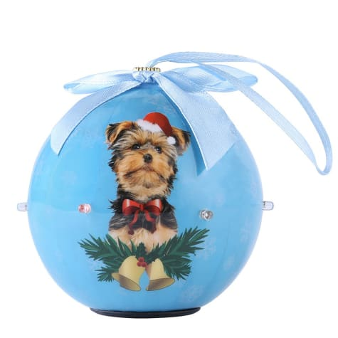 CueCuePet Yorkie Dog Collection Twinkling Lights Christmas Ball Ornament