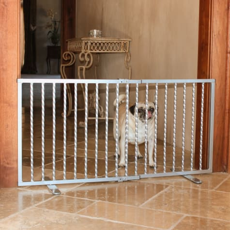 Cardinal Gates Wrought Iron Step Over Pewter Gate for Dogs