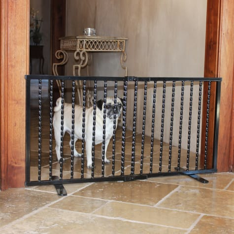 Cardinal Gates Wrought Iron Step Over Black Gate for Dogs