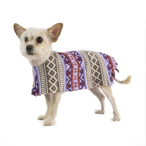 Pooch-O Fleece Aztec Purple Dog Poncho