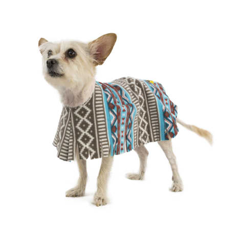 Pooch-O Fleece Aztec Teal Dog Poncho