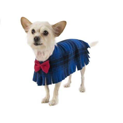 Pooch-O Fleece Blue Plaid with Bow Dog Poncho