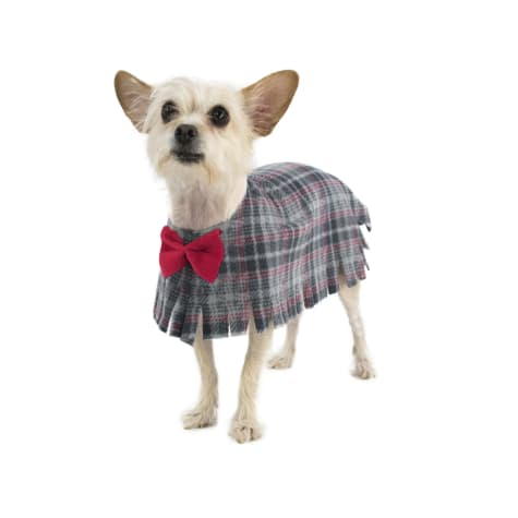 Pooch-O Fleece Grey Plaid with Bow Dog Poncho