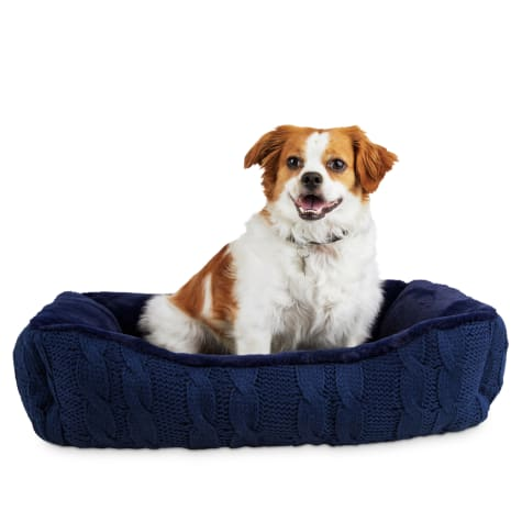 Modern Luxe Collection Slate Blue Knit Nester Dog Bed