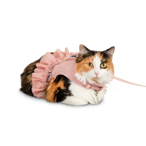 Modern Luxe Collection Pink Tweed Cat Harness and Leash Set