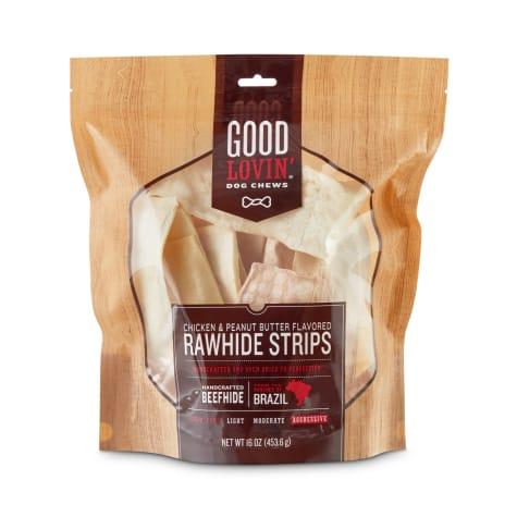 Good Lovin' Chicken and Peanut Butter Flavored Rawhide Strip Dog Chews