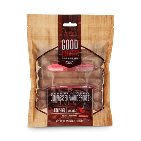 Good Lovin' Beef Flavored Compressed Rawhide Bone Dog Chews
