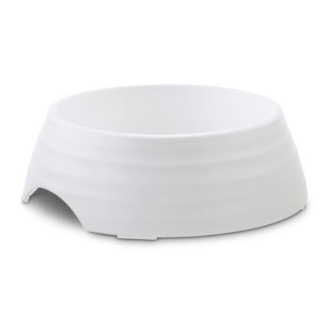 Harmony White Rippled Skid-Resistant Melamine Dog Bowl Base