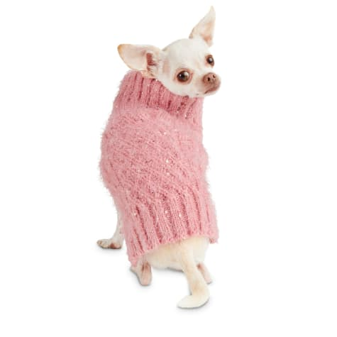 Bond & Co. Fluffy and Flashy Pink Dog Sweater