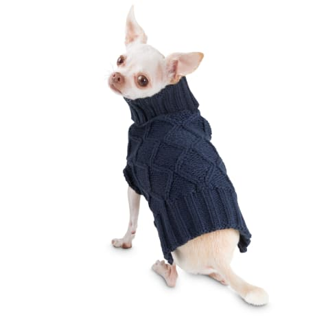 Bond & Co. Cable Knit Navy Dog Sweater