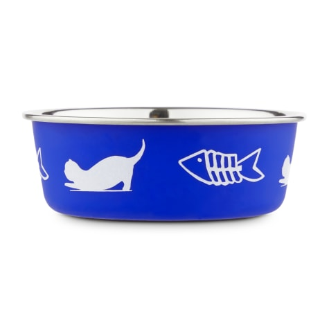 Harmony Fish Lover's Skid-Resistant Stainless Steel Blue Cat Bowl