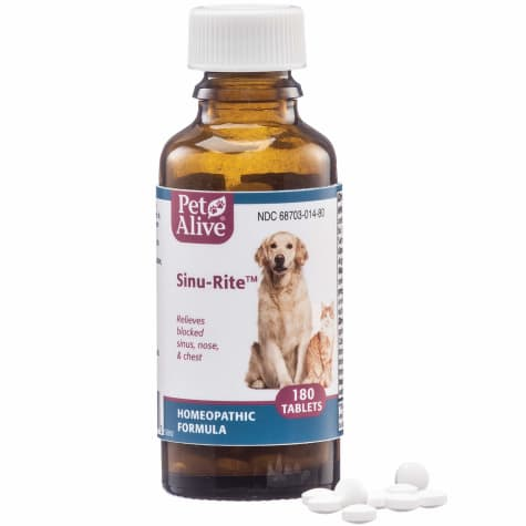 PetAlive Natural Homeopathic Sinu-Rite Tablets Dog and Cat Medicine