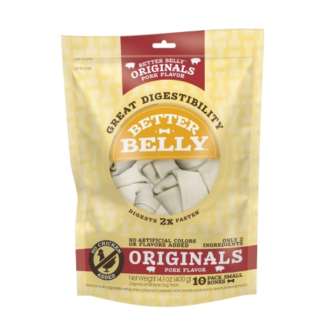 Better Belly Originals Pork Flavor Great Digestibility Rawhide Small Bones Dog Treats