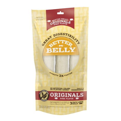 Better Belly Originals Pork Flavor Great Digestibility Rawhide Large Rolls Dog Treats