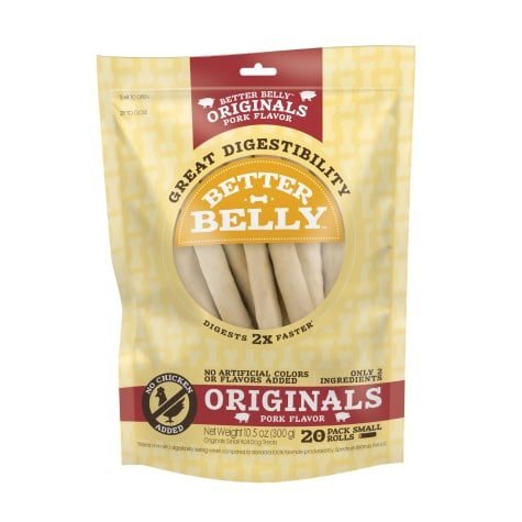 Better Belly Originals Pork Flavor Great Digestibility Rawhide Small Rolls Dog Treats