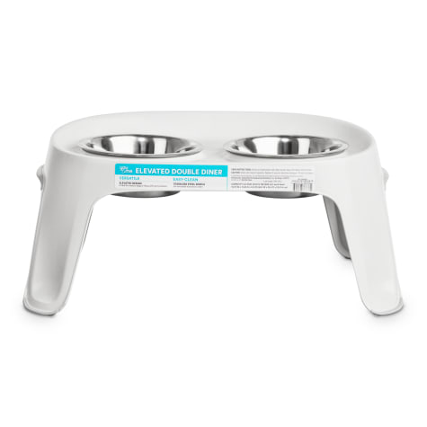 You & Me White Elevated Double Diner Dog Feeder