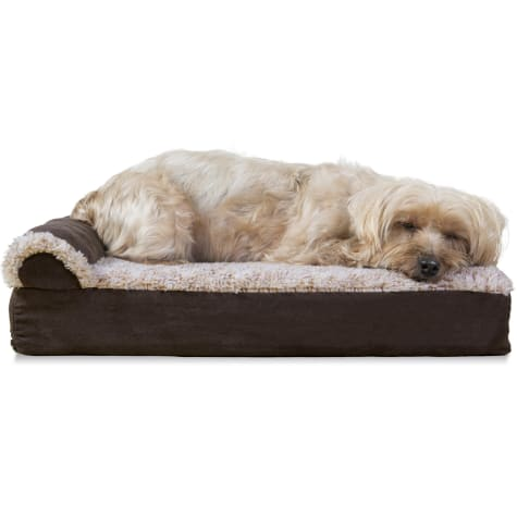FurHaven Two-Tone Faux Fur & Suede Deluxe Chaise Lounge Orthopedic Sofa Dog Bed Espresso