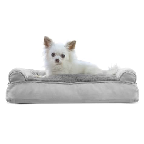FurHaven Plush & Suede Pillow Sofa Dog Bed Gray