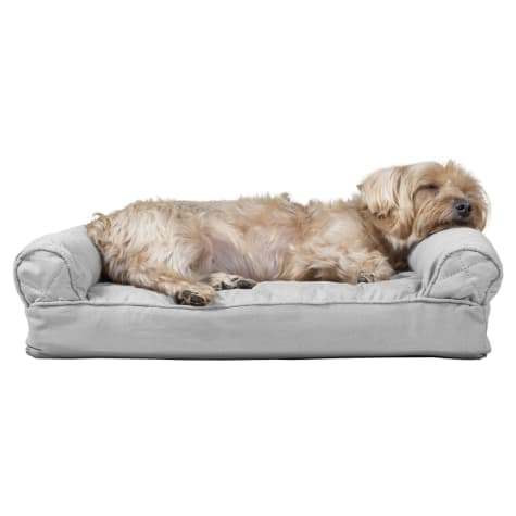 FurHaven Quilted Pillow Sofa Dog Bed Silver Gray
