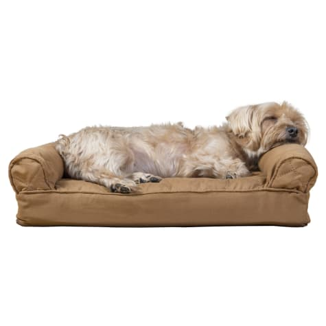 FurHaven Quilted Pillow Sofa Dog Bed Warm Brown