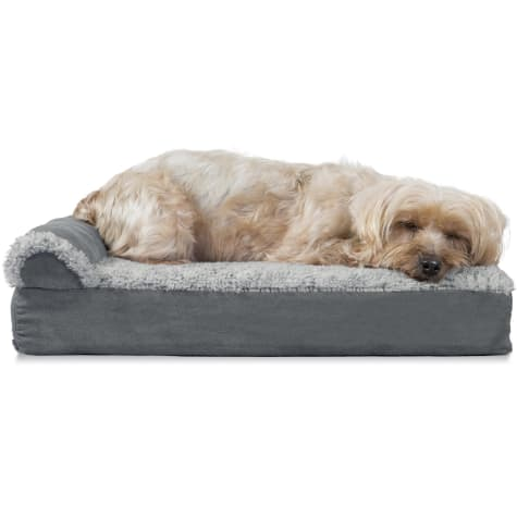 FurHaven Two-Tone Faux Fur & Suede Deluxe Chaise Lounge Orthopedic Sofa Dog Bed Stone Gray