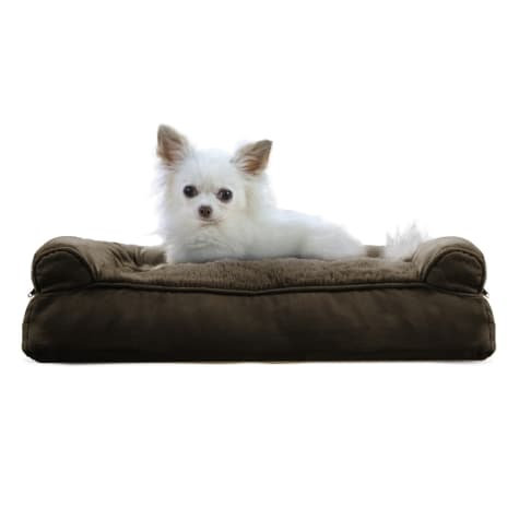 FurHaven Plush & Suede Pillow Sofa Dog Bed Espresso