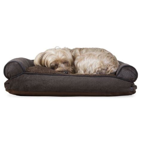 FurHaven Faux Fleece & Chenille Soft Woven Pillow Sofa Dog Bed Coffee