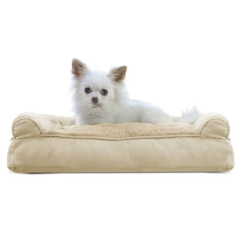 FurHaven Plush & Suede Pillow Sofa Dog Bed Clay