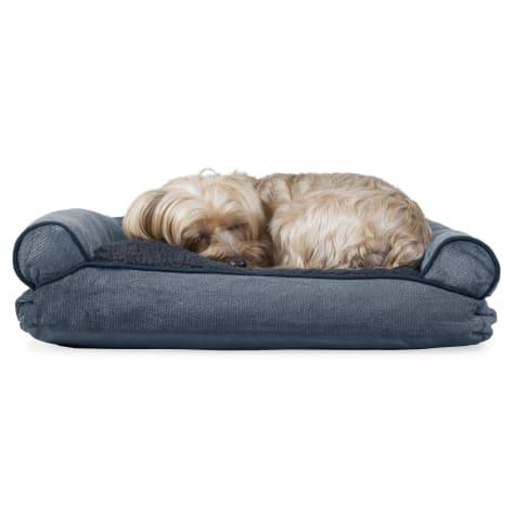 FurHaven Faux Fleece & Chenille Soft Woven Pillow Sofa Dog Bed Orion Blue