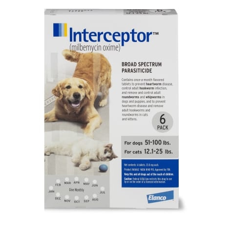 Interceptor Flavor Tabs for Dogs 51 to 100 lbs. and Cats 12 to 25 lbs.
