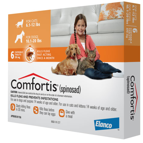 Comfortis Chewables for Dogs 10.1 to 20 lbs. and Cats 6 to 12 lbs.