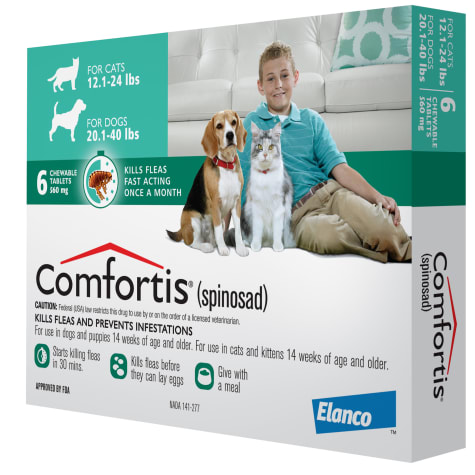 Comfortis Chewables for Dogs 20 to 40 lbs. and Cats 12 to 24 lbs.