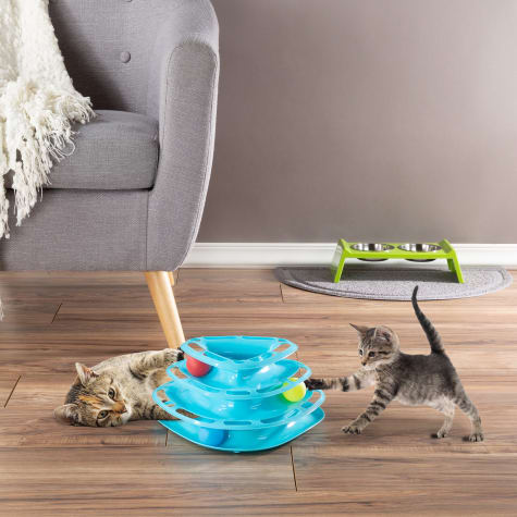 PETMAKER Interactive 3 Level Tiered Triangle Track with Rolling Balls for Cats