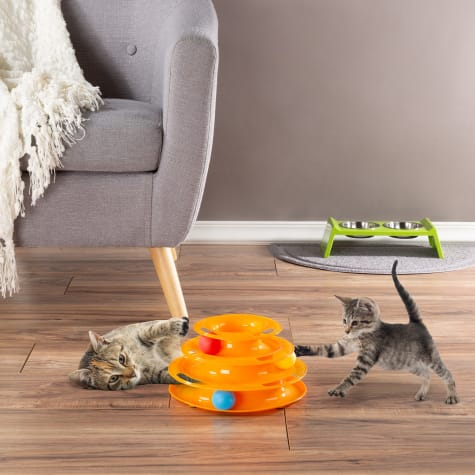 PETMAKER Interactive 3 Level Tiered Round Track with Rolling Balls for Cats