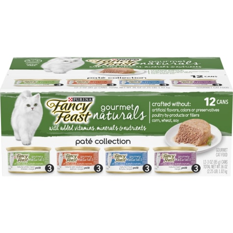 Purina Fancy Feast Grain Free Gourmet Naturals Pate Wet Cat Food Variety Pack