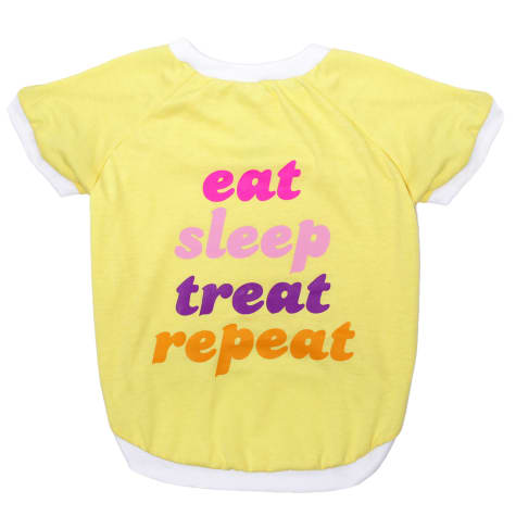 LaurDIY Pets First Eat Sleep Treat Repeat T-Shirt for Dogs