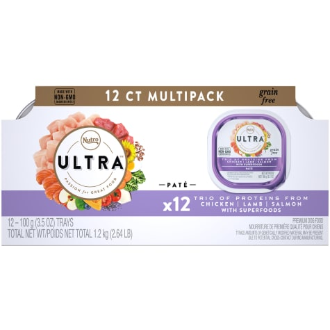 Nutro Ultra Turkey, Chicken & Salmon Entree Grain Free Adult Wet Dog Food Pate with Toppers Variety Pack