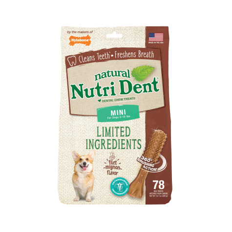 Nylabone Nutri Dent Limited Ingredients Mini Filet Mignon Dental Chews for Dogs