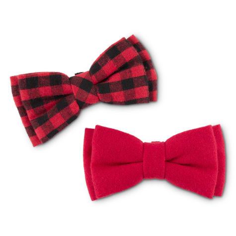 Bond & Co. Red and Black Buffalo Check Dog Bowtie Set