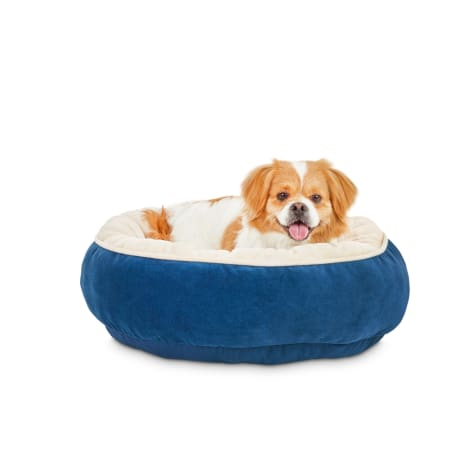 Animaze Navy Round Bolster Dog Bed