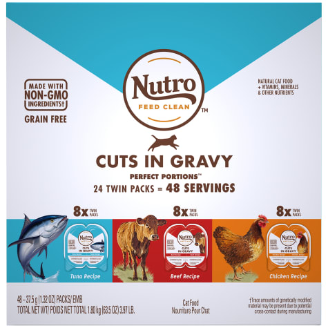 Nutro Perfect Portions Grain Free Natural Cuts In Gravy Recipes Variety Pack Adult Wet Cat Food