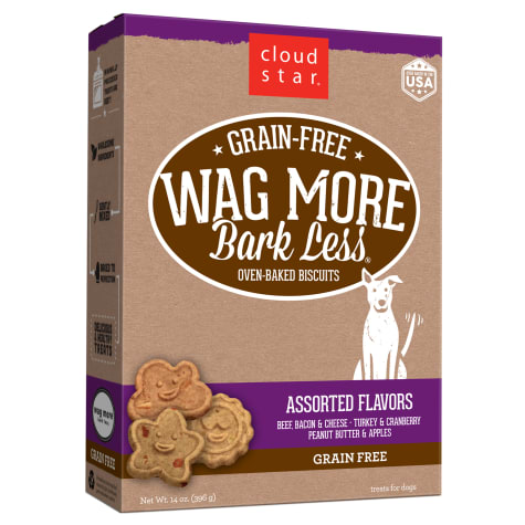 Cloud Star Wag More Bark Less Grain Free Oven Baked Assorted Flavor Dog Treats