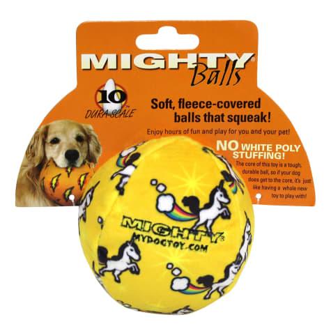 Mighty Toys Unicorn Print Durable Plush Squeaky Ball Dog Toy