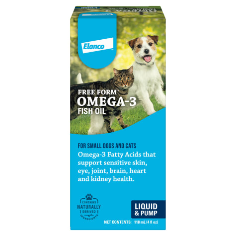 Bayer Free Form Liquid Omega-3 Fish Oil Liquid Pump Supplement for Small Dogs and Cats