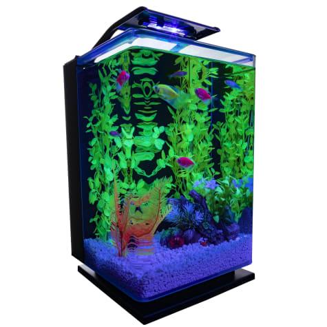 GloFish Hinged Cycle Light and Hidden Filtration Aquarium Kit 5 Gallons